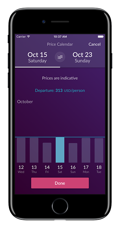 Clear and simple Price Calendar for a quick overview of prices