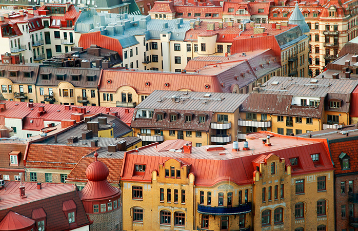 The candy coloured rooftops of Gothenburg, Sweden