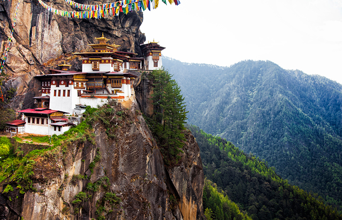 The Tiger's Nest Buddhist temple located in the cliff side of the upper Paro valley, in Bhutan