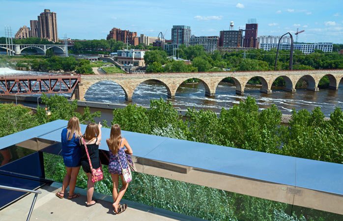 The view from the Guthrie Theatre over the Stone Arch Bridge, the second oldest bridge along the Mississippi River