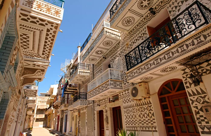 Eye-catching facades in Pyrgi, one of the seven Mastichochoria (mastic villages)