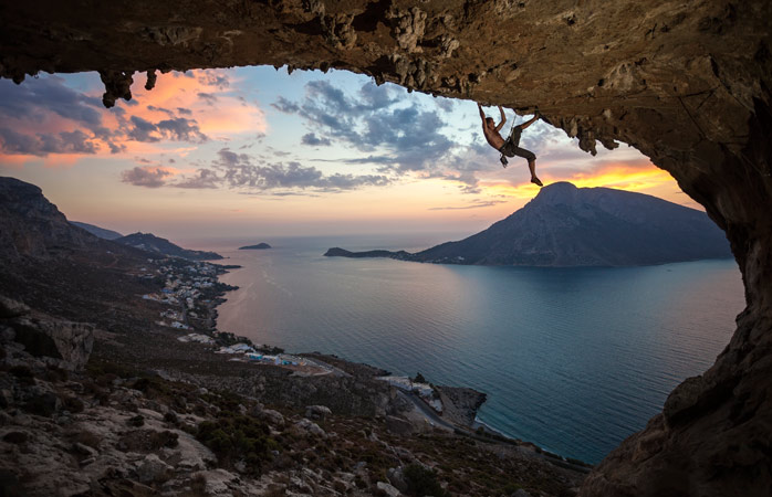 Sunset from a whole different perspective climbing Grande Grotta in Kalymnos