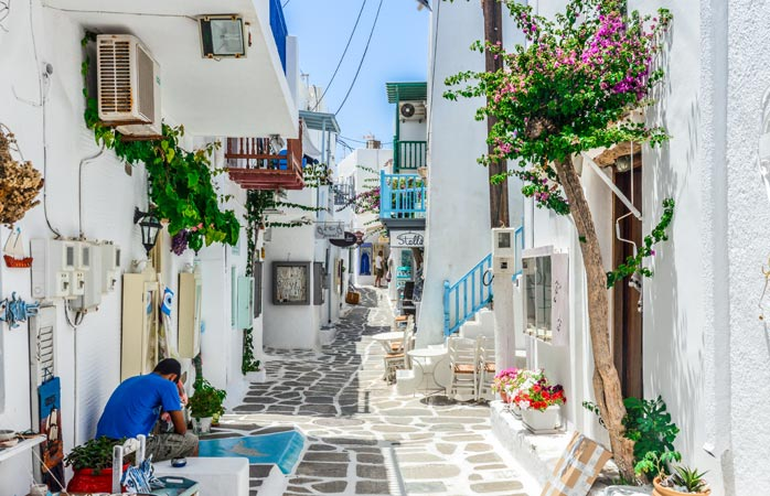 Forget all your problems in the quiet streets of Paros