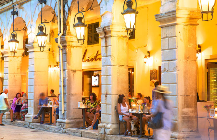 Late afternoon drinks to cool off in Spianada square, Corfu