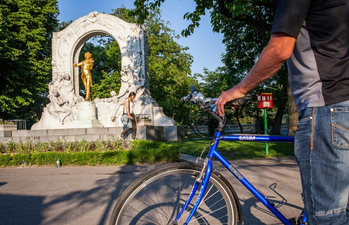Hit the brakes to admire the monument dedicated to composer Johann Strauss at the Stadtpark