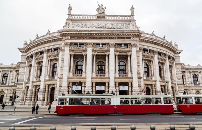 The Burgtheater's elegant facade - peek inside to see Klimt's masterpieces