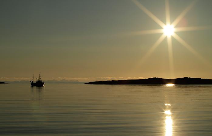 Midnight sun seen from Mjelle Beach