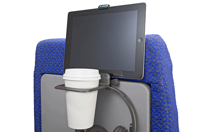 The Airhook will hold your cup and iPad - a nifty hack for those short-haul flights