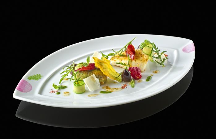 Roasted turbot and stuffed zucchini flower © Resorts World Sentosa