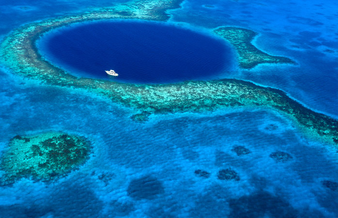 Belize's Great Blue Hole, seen in all its splendour from above