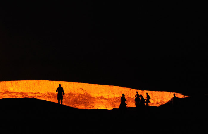 "Visit the ""Door to Hell"" by night for prime time views of the raging inferno"