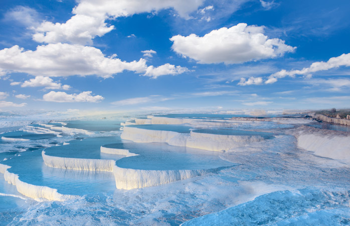 Blue waters and fluffy, white pools. Pammukale is a cloud-like wonderland