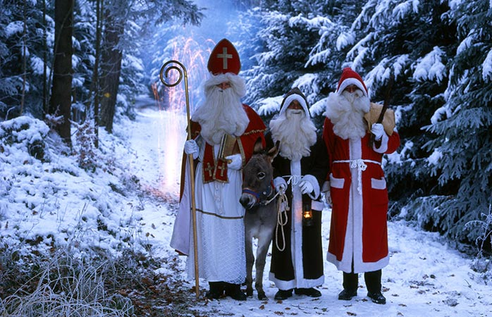 Saint Nicholas with his three amigos: Santa Claus, Knecht Ruprecht and ... a donkey