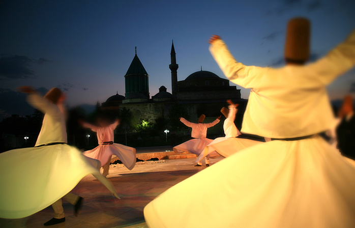 Delight in the dance and spectacle of the Mevlana Whirling Dervishes in Konya, Turkey in December