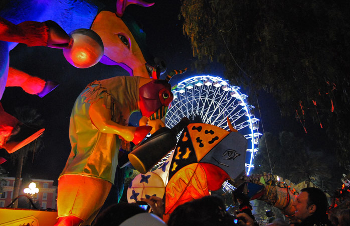 Fiery decorations light up the night sky at the Nice Carnival