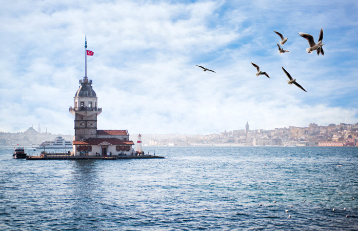 Admire the quaint, oddly-placed Maiden's Tower as you sail past it in the Bosphorus