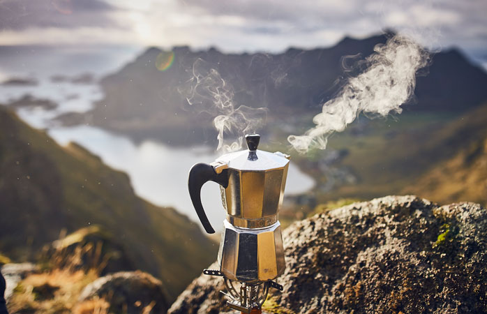 Don't forget to hydrate: there's nothing like a cup of coffee with a view