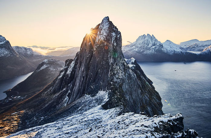 The viewpoint of the mountain Segla, which is also known as the Sail of Senja