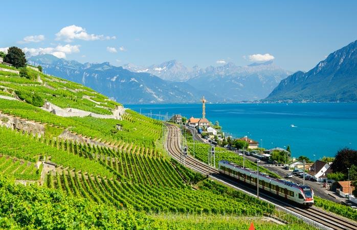 The rolling Lavaux Vineyard Terraces in Lausanne