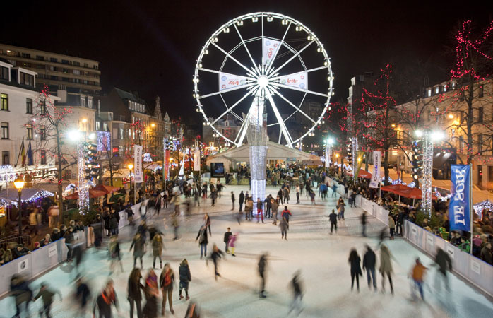 Take a skating break at Place Sainte-Catherine in between your Christmas shopping in Brussels