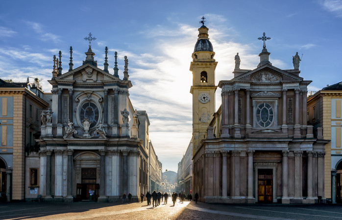 Piazza San Carlo, one of the main squares of Turin with its twin churches