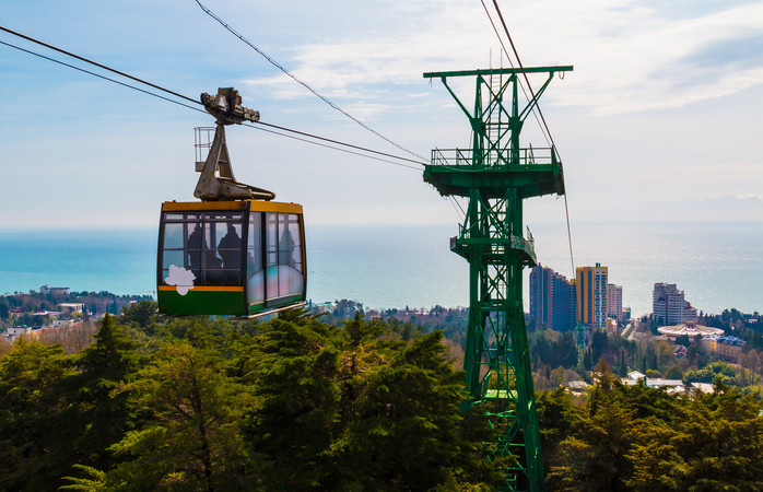The cableway over the city of Sochi