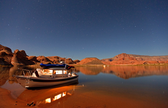 After exploring Glen Canyon, there's nothing comparable to the sun setting over Lake Powell