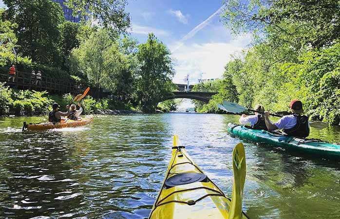 It's easy to rent kayaks and gear for an afternoon on Stockholm's canals