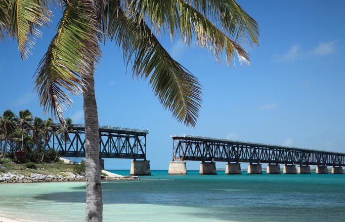 A view of the old railway that used to span the water, seen from Bahia Honda State Park