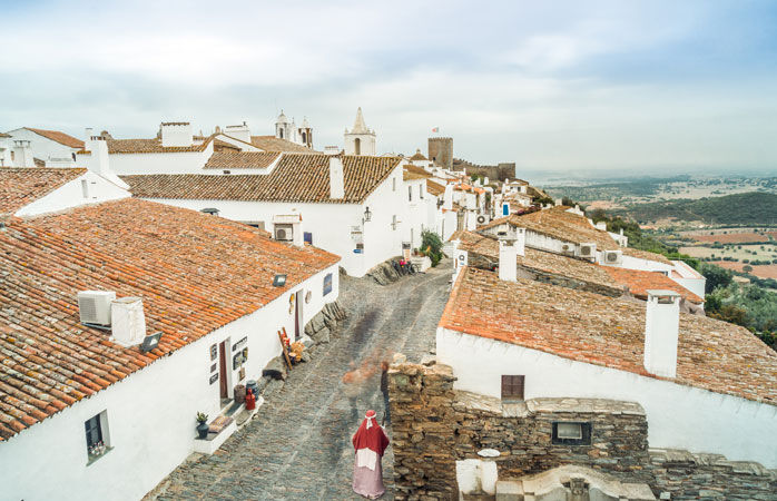 The medieval village of Monsaraz sits atop a hill in the Portuguese Alentejo region