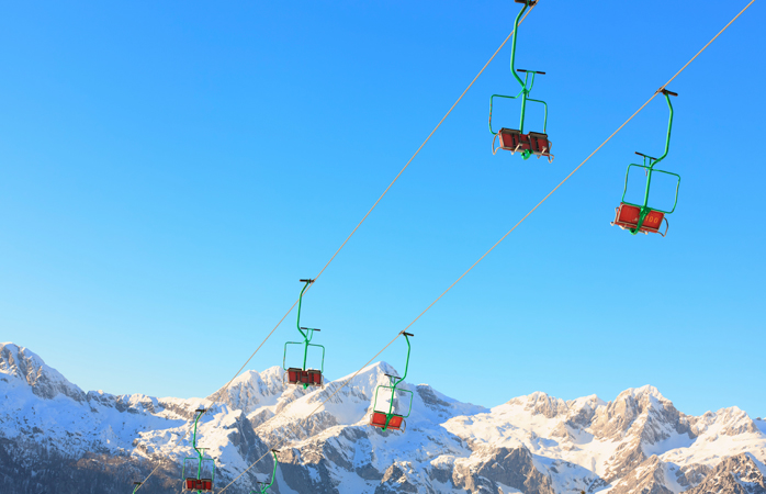 Colorful Slovenian ski lifts.
