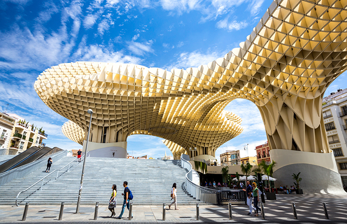 Seville's Metropol Parasol (better known as The Mushroom) claims to be the largest wooden structure in the world
