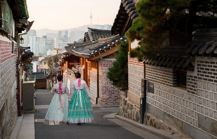 Wander around the Bukchon Hanok Village and have a look at the traditional houses